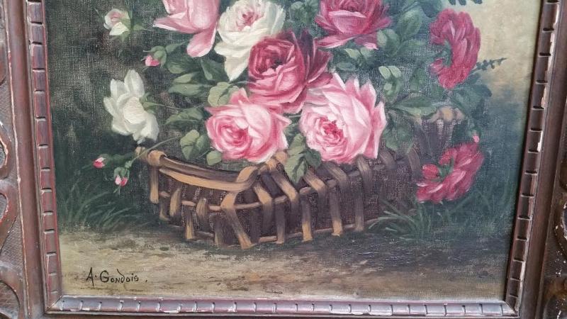 Tableau Ancien Bouquet De Roses French Antiquesfr