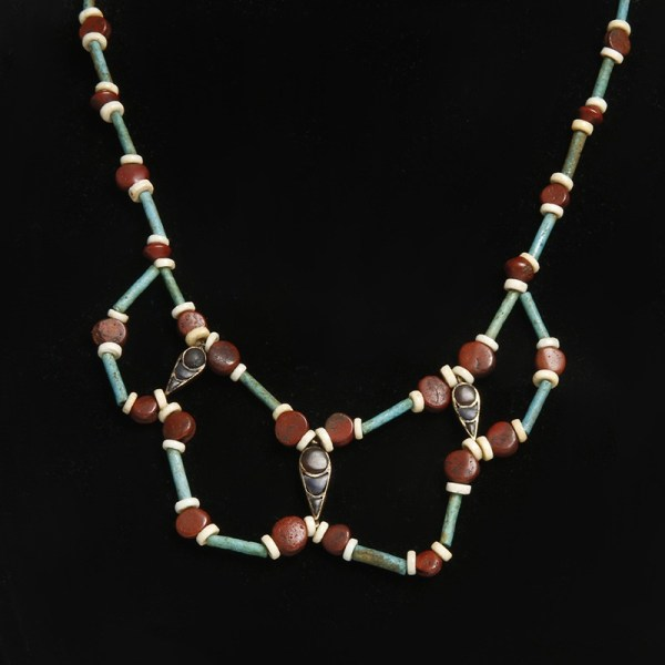 Egyptian New Kingdom Necklace of Faience Gold and Jasper Elements