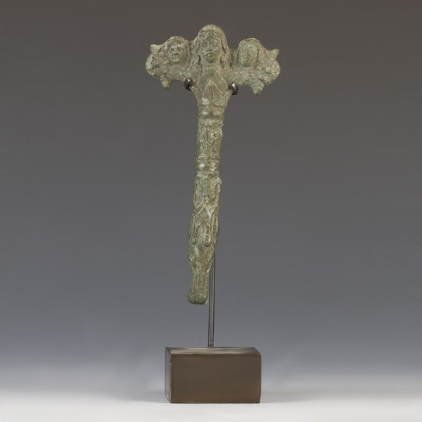 Roman Bronze Handle With Bacchants