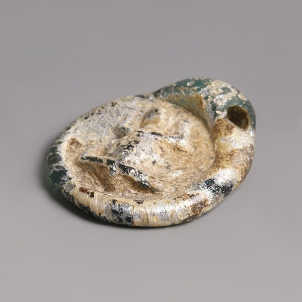 Roman Glass Frog Pendant