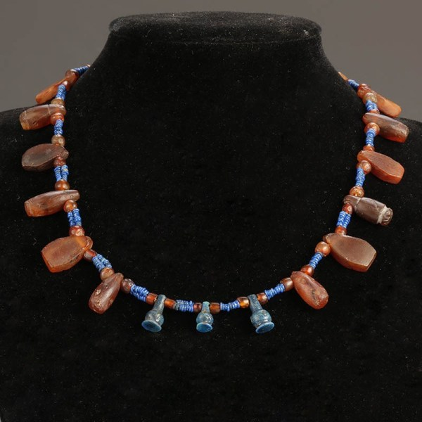 Egyptian Hardstone Necklace with Amulets