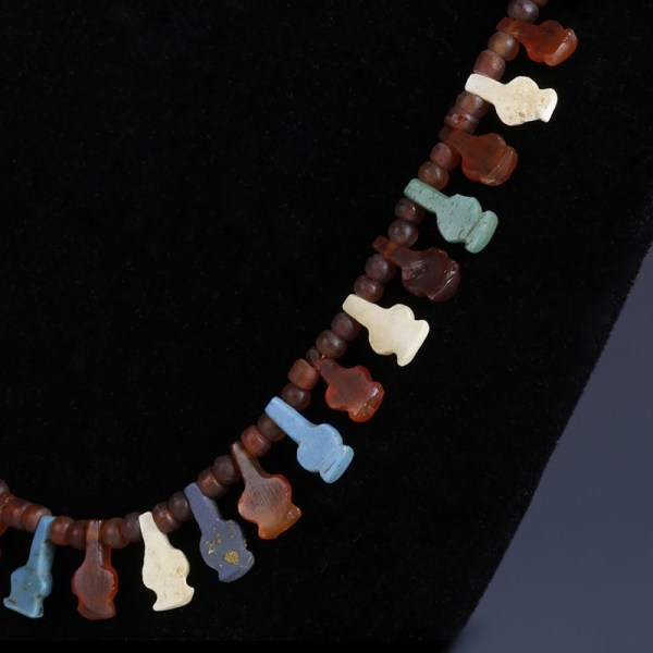 Egyptian Glass and Carnelian Poppy Bead Necklace