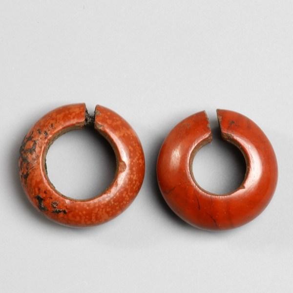 Pair of Egyptian Jasper Hair Rings