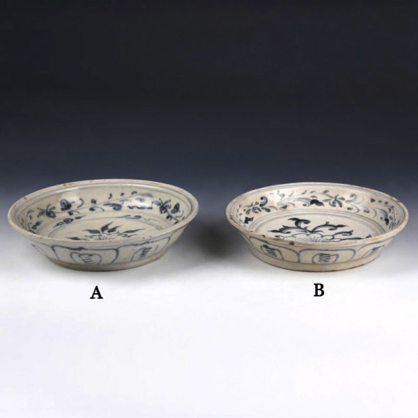 Hoi An Blue and White Dishes with Single Petal Peony Decoration