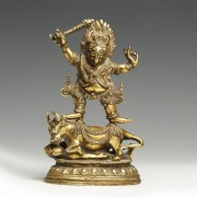 Tibetan Gilt Bronze Figure of Yama Dharmaraja
