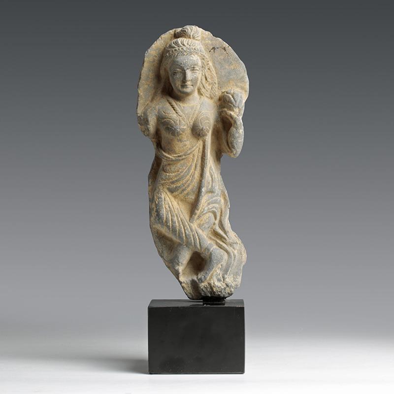 Gandhara Buddhist Yakshi Stone Statue Ancient Oriental