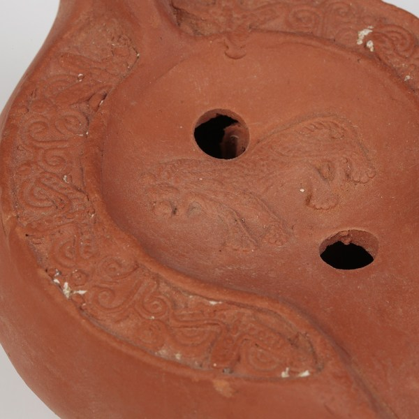 Roman North African Redware Lamp with Lion