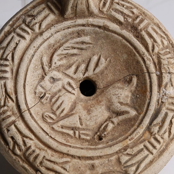 Roman Terracotta Lamp with Deer