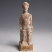 Greek Terracotta Statuette with Original Pigments