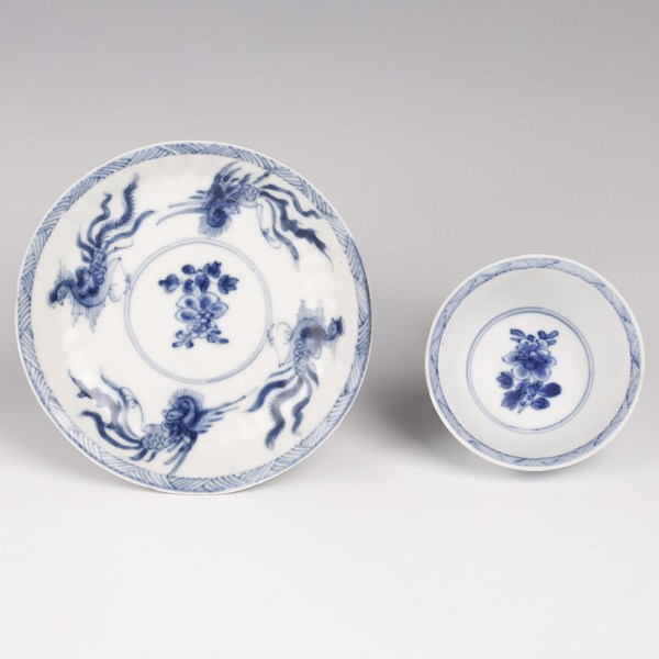 Kangxi Saucer and Cup Set with Phoenixes