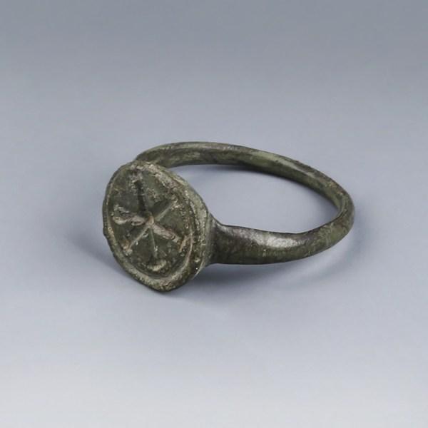 Byzantine Bronze Chi Rho Signet Ring