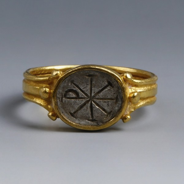 Byzantine Ring with Christian Chi Rho Intaglio
