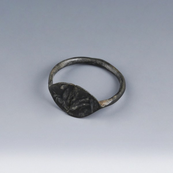 Roman Bronze Signet Ring with Cockerel Intaglio