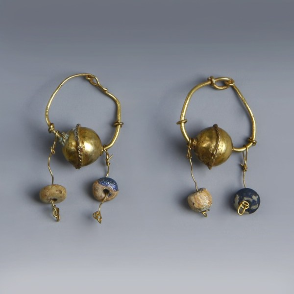 Roman Gold Earrings with Glass Bead Pendants