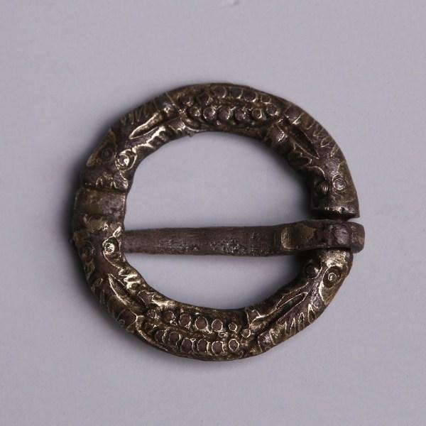 Medieval Silver Gilded Ring Brooch