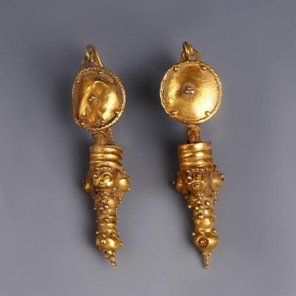 Ancient Roman Gold Earrings with Granulation