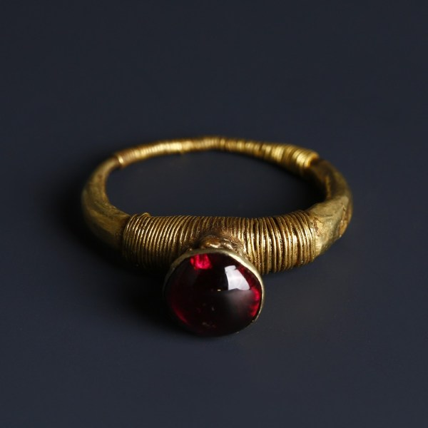 Western Asiatic Gold Ring with Garnet