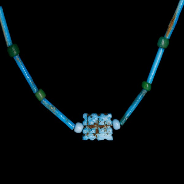 Egyptian Necklace with Faience Blue Beads