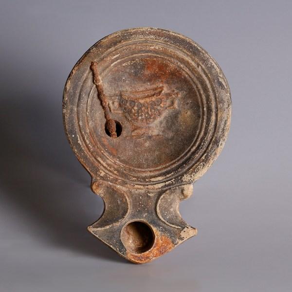 Roman Oil Lamp with Original Iron Wick