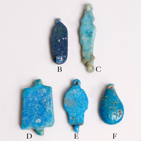 Selection Of Blue Egyptian Faience Amulets