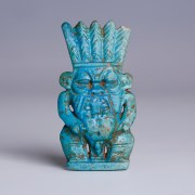 Exceptional Large Egyptian Faience Amulet of Bes