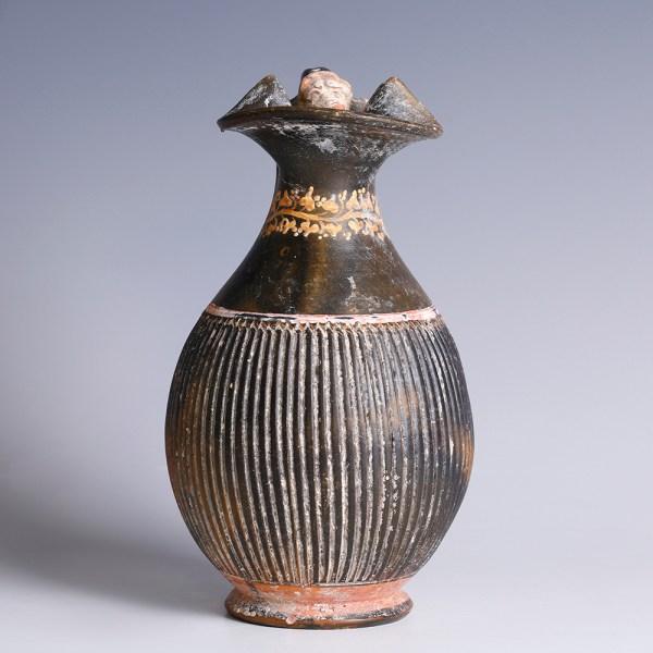 Ancient Greek Gnathian Ribbed Oinochoe