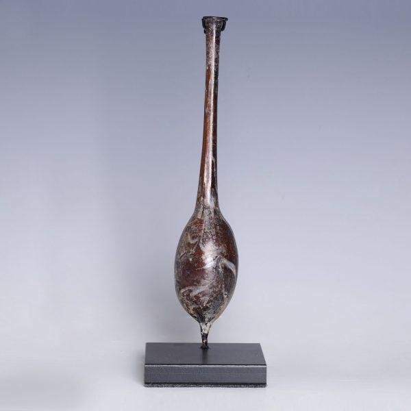Ancient Roman Aubergine Glass Unguentarium
