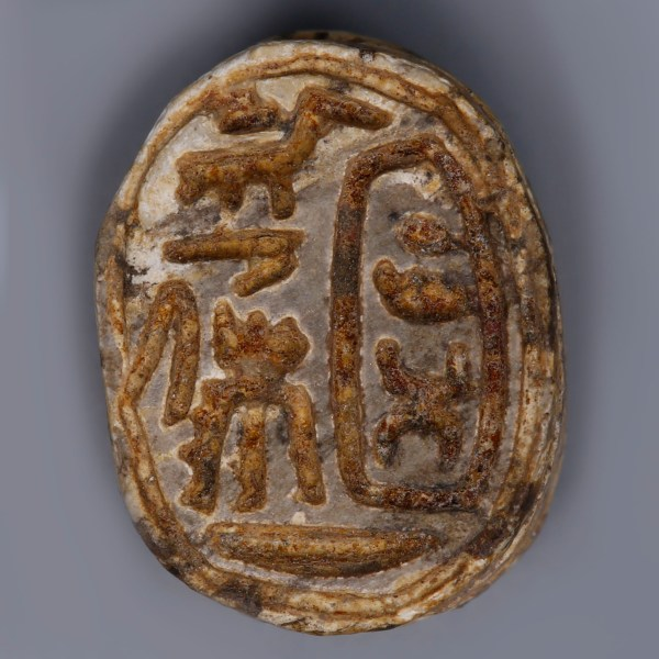 Steatite Egyptian Scarab with Royal Cartouche