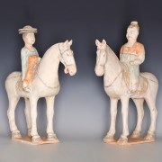Pair of Tang Dynasty Horse & Rider