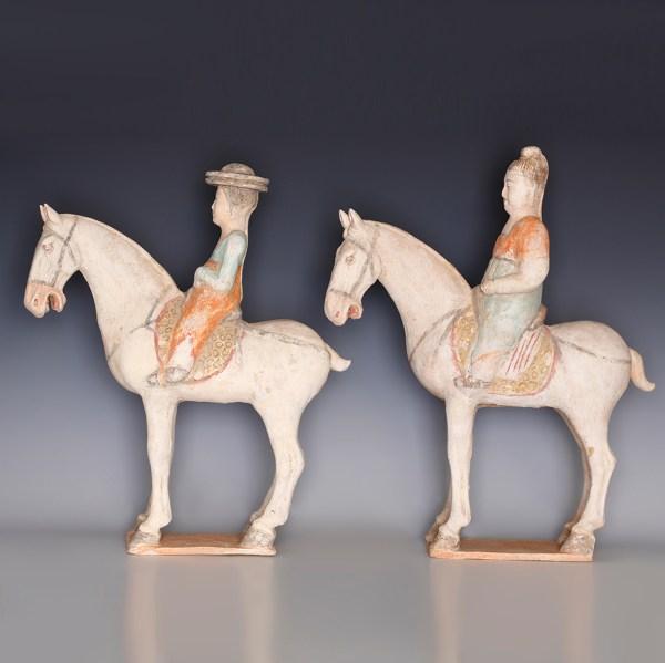 Pair of Tang Dynasty Horse & Rider