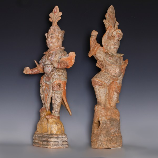 Pair Of Tang Painted Terracotta Warrior Guardian Figurines