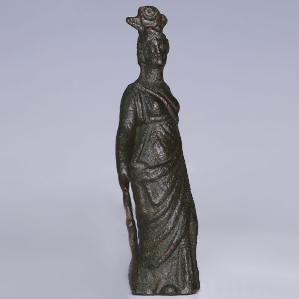 Ancient Roman Bronze Statuette of Isis-Fortuna
