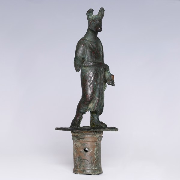 Egyptian Bronze Staff Head of Hermanubis