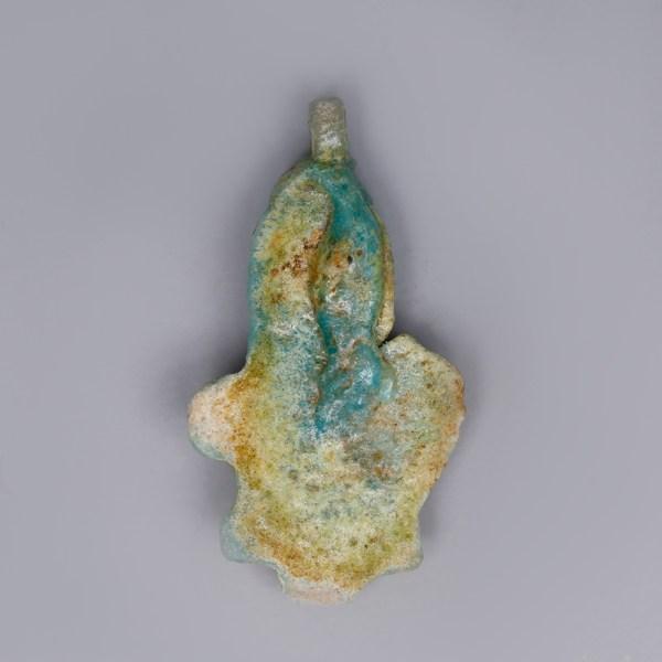 Egyptian Turquoise Faience Lotus Amulet