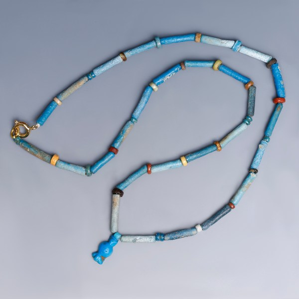 Egyptian Faience Necklace with a Triple Blossomed Flower Amulet