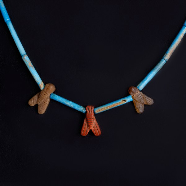 Egyptian Necklace with Blue Faience and Hard Stone Fly Amulets