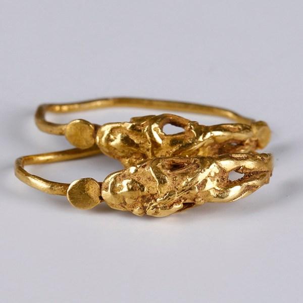 Hellenistic Gold Loop Earrings with Eros