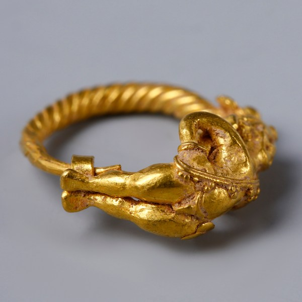 Greek Hellenistic Spiralled Gold Loop Earring with Eros