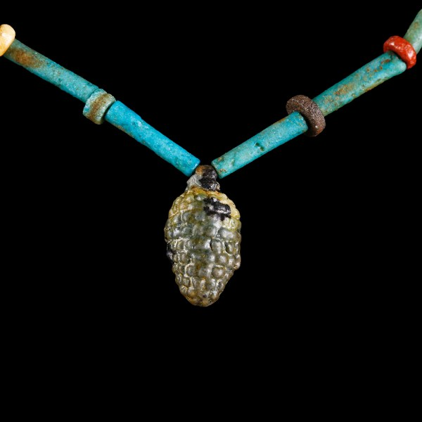 Egyptian Faience Necklace with Grape Amulet