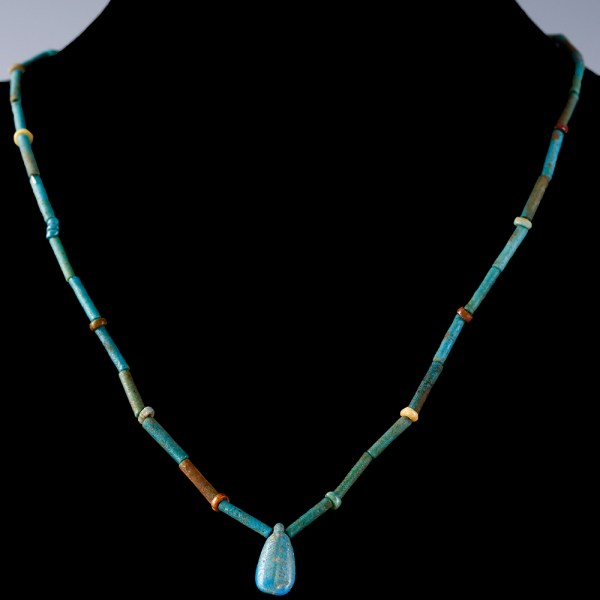 Egyptian Faience Necklace with Petal Amulet