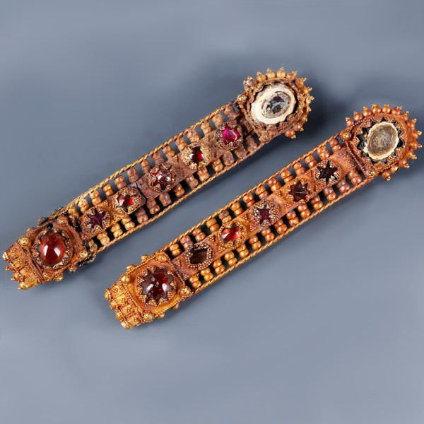 Byzantine Gold Appliques with Gold Granules and Garnets