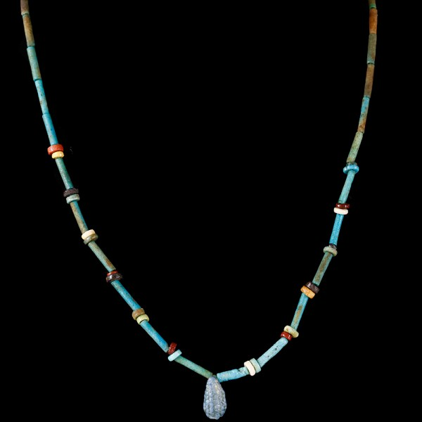 Fine Egyptian Faience Necklace with Grape Amulet