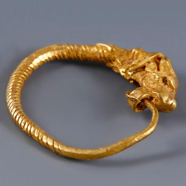 Greek Hellenistic Earring with Bull Head Terminal