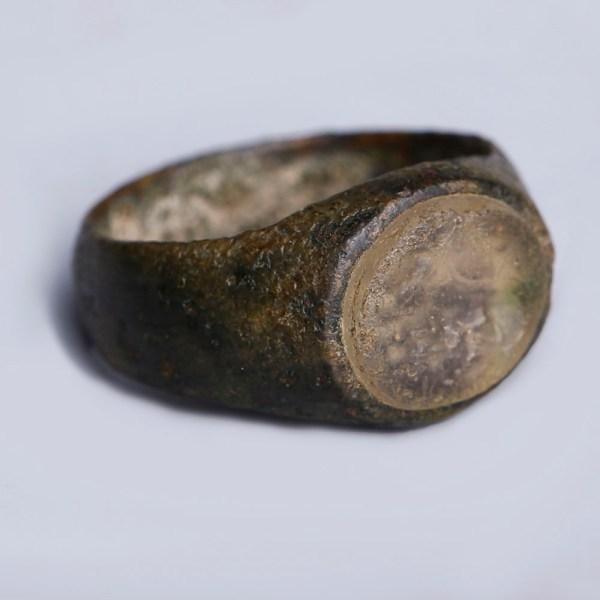 Roman Bronze Ring with Glass Intaglio of a Bull