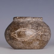 Han Dynasty Globular Jar with Incised Fish