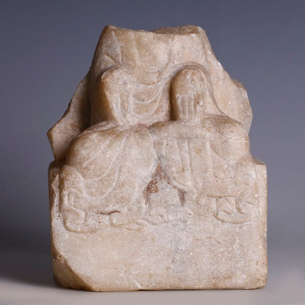 Fragment of a Chinese Seated Marble Figure of Guanyin