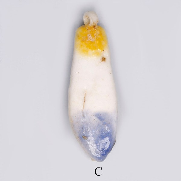 Selection of Egyptian Faience White and Yellow Lotus Petal Amulets