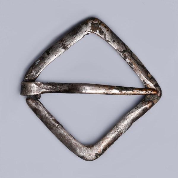 Late Medieval Silver Lozenge Frame Brooch