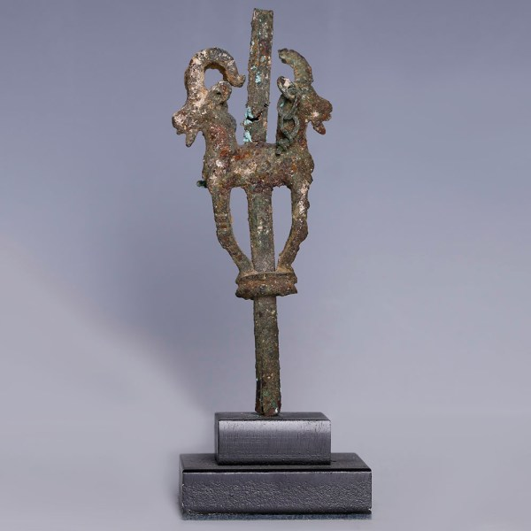 Luristan Bronze Finial with Ibexes
