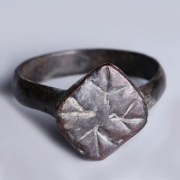Roman Bronze Ring with Decorated Rhombus Bezel